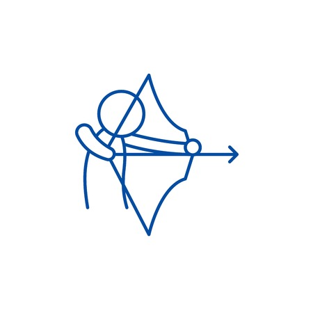 Archery line concept icon. Archery flat vector website sign, outline symbol, illustration.