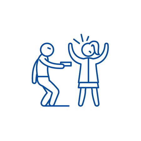 Icono de concepto de línea de robo a mano armada. Robo a mano armada vector plano sitio web de señal, símbolo de contorno, Ilustración. Ilustración de vector