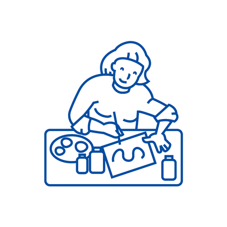Artist,illustrator, woman line concept icon. Artist,illustrator, woman flat vector website sign, outline symbol, illustration.
