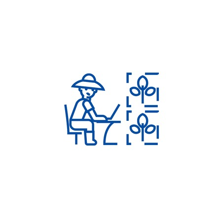 Automated agriculture line concept icon. Automated agriculture flat vector website sign, outline symbol, illustration.