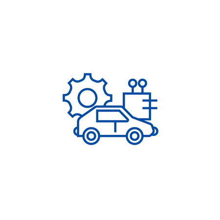 Automated car line concept icon. Automated car flat  vector website sign, outline symbol, illustration. Ilustrace