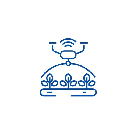 Automated irrigation line concept icon. Automated irrigation flat  vector website sign, outline symbol, illustration.