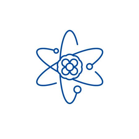 Atom line concept icon. Atom flat vector website sign, outline symbol, illustration. Vektorgrafik