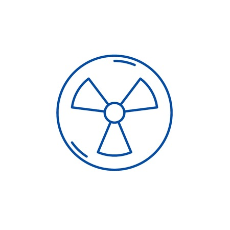 Atomic industry line concept icon. Atomic industry flat  vector website sign, outline symbol, illustration. Standard-Bild - 119685203