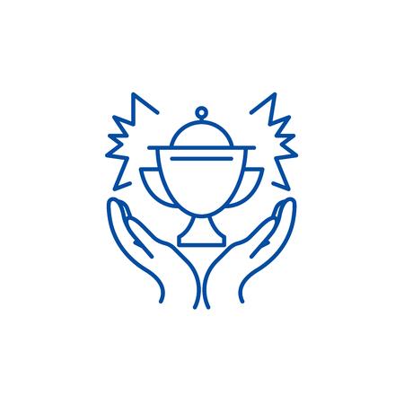 Award line concept icon. Award flat  vector website sign, outline symbol, illustration. Illustration