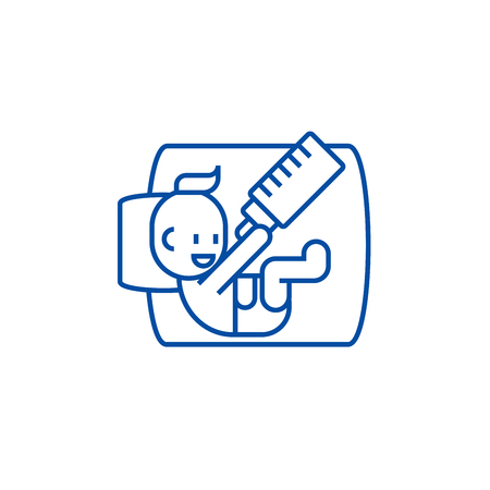 Baby with bottle line concept icon. Baby with bottle flat  vector website sign, outline symbol, illustration. Stock Illustratie