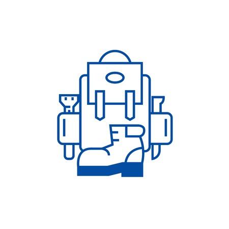 Backpack, active travel, camping, boots line concept icon. Backpack, active travel, camping, boots flat  vector website sign, outline symbol, illustration. Stock Vector - 119710328