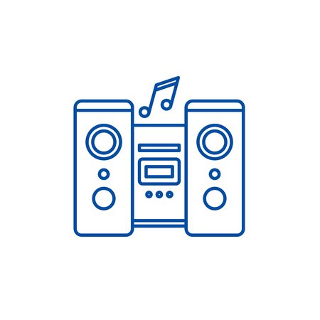 Audio system line concept icon. Audio system flat  vector website sign, outline symbol, illustration.