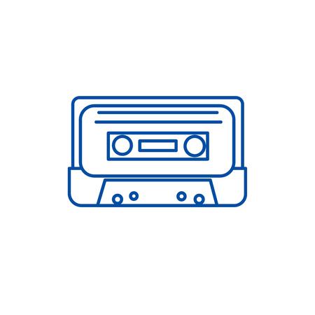 Audio tape line concept icon. Audio tape flat  vector website sign, outline symbol, illustration.