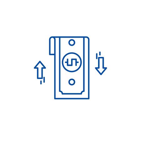 Bank transfer line concept icon. Bank transfer flat  vector website sign, outline symbol, illustration. Foto de archivo - 119685286