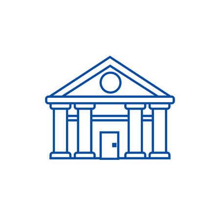 Bank,court of justice line concept icon. Bank,court of justice flat  vector website sign, outline symbol, illustration.