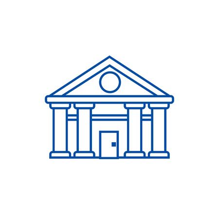 Bank,court of justice line concept icon. Bank,court of justice flat  vector website sign, outline symbol, illustration.