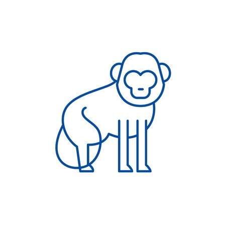 Baboon line concept icon. Baboon flat  vector website sign, outline symbol, illustration.