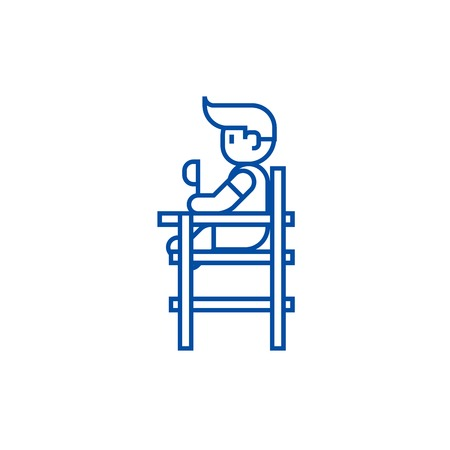 Baby boy sitting on high chair line concept icon. Baby boy sitting on high chair flat  vector website sign, outline symbol, illustration.