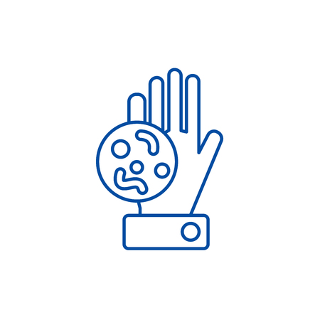 Bacteria, dirty hand line concept icon. Bacteria, dirty hand flat  vector website sign, outline symbol, illustration.