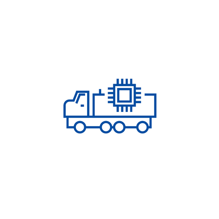 Autonomous car line concept icon. Autonomous car flat  vector website sign, outline symbol, illustration.