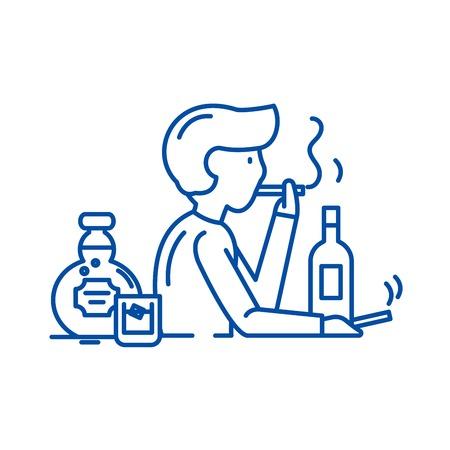 Icono de concepto de línea de malos hábitos. Malos hábitos vector plano sitio web de señal, símbolo de contorno, Ilustración. Ilustración de vector
