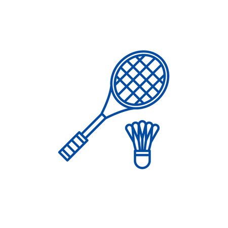 Badminton racket line concept icon. Badminton racket flat  vector website sign, outline symbol, illustration.