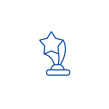 Award cup with star line concept icon. Award cup with star flat  vector website sign, outline symbol, illustration.