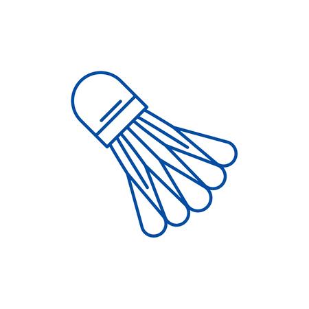 Badminton shuttlecock line concept icon. Badminton shuttlecock flat  vector website sign, outline symbol, illustration. Illustration