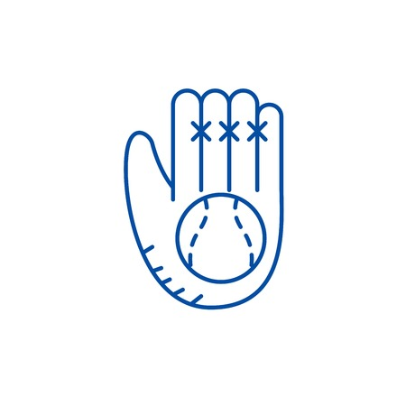 Baseball glove line concept icon. Baseball glove flat  vector website sign, outline symbol, illustration. 版權商用圖片 - 119710343