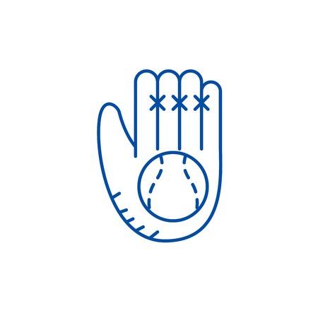Baseball glove line concept icon. Baseball glove flat  vector website sign, outline symbol, illustration.