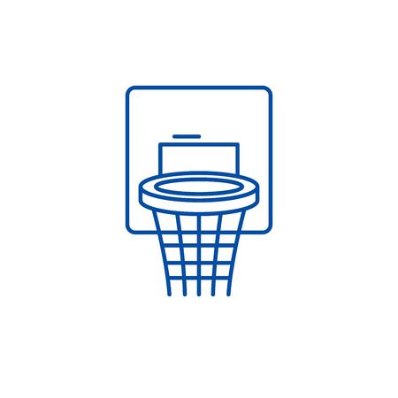 Basketball basket line concept icon. Basketball basket flat  vector website sign, outline symbol, illustration. Illustration