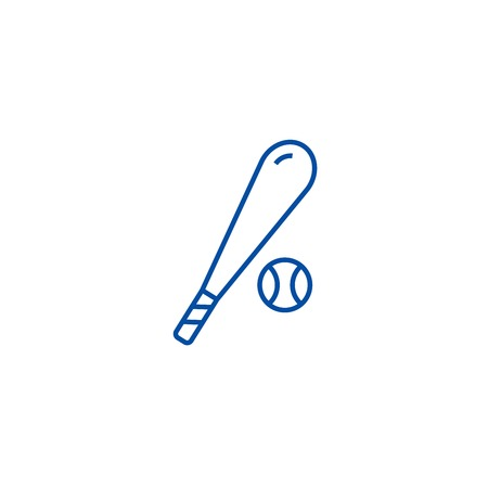 Baseball line concept icon. Baseball flat  vector website sign, outline symbol, illustration. Illustration