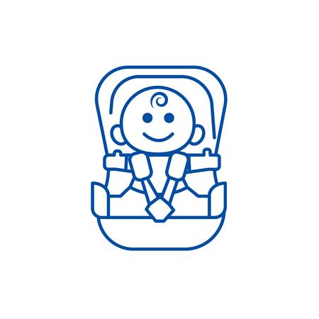 Baby in car, security chair line concept icon. Baby in car, security chair flat  vector website sign, outline symbol, illustration. Foto de archivo - 119710359