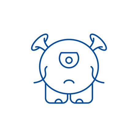 Baby monster line concept icon. Baby monster flat  vector website sign, outline symbol, illustration.