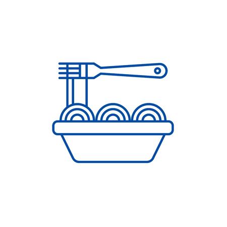 Asian noodles line concept icon. Asian noodles flat  vector website sign, outline symbol, illustration. Illustration