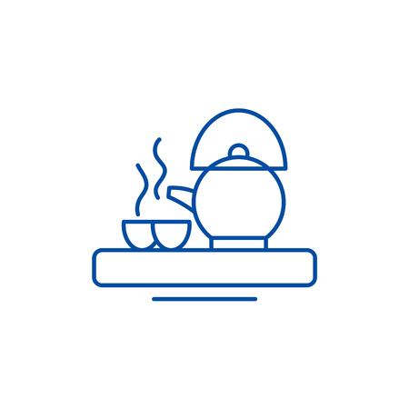 Asian tea line concept icon. Asian tea flat  vector website sign, outline symbol, illustration.  イラスト・ベクター素材