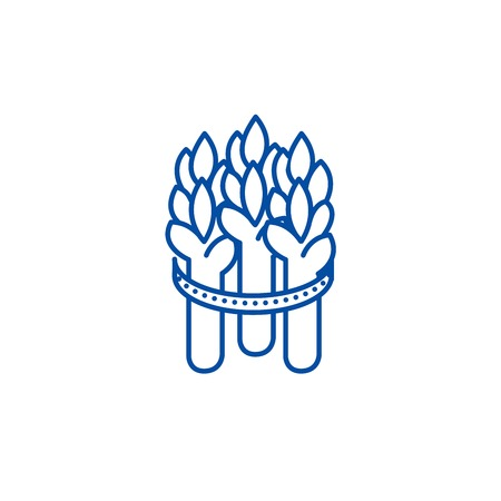 Asparagus line concept icon. Asparagus flat  vector website sign, outline symbol, illustration.  イラスト・ベクター素材