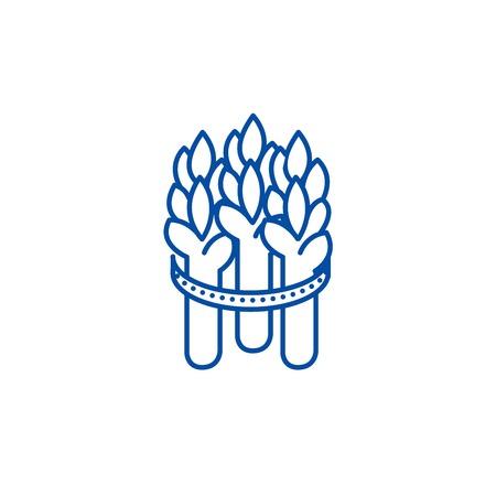 Icône de concept de ligne d'asperges. Signe de site Web vecteur plat asperges, symbole du contour, illustration.