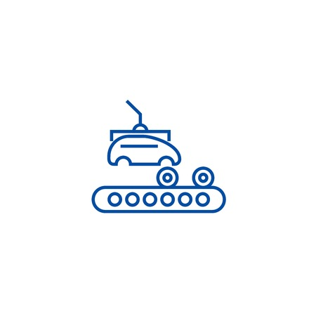 Assembly car, conveyor line concept icon. Assembly car, conveyor flat  vector website sign, outline symbol, illustration.