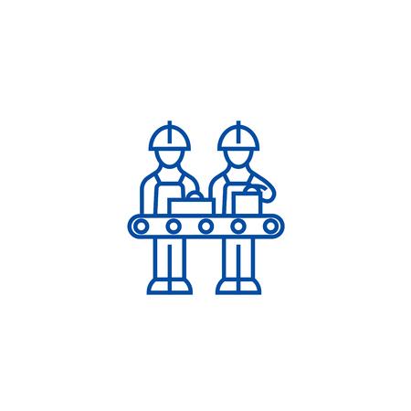 Assembly line line concept icon. Assembly line flat  vector website sign, outline symbol, illustration.