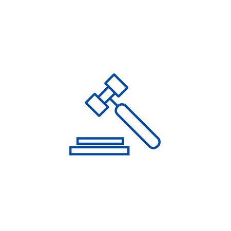 Auction, hammer line concept icon. Auction, hammer flat  vector website sign, outline symbol, illustration.  イラスト・ベクター素材