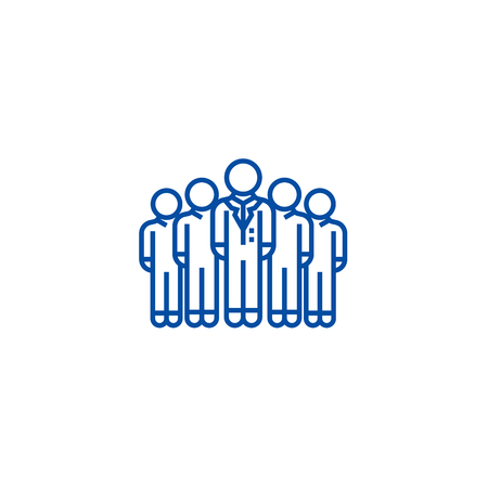 Audience,marketing team,workgroup line concept icon. Audience,marketing team,workgroup flat  vector website sign, outline symbol, illustration.  イラスト・ベクター素材