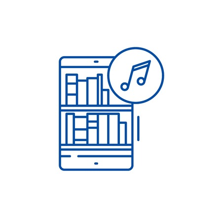 Audio books line concept icon. Audio books flat  vector website sign, outline symbol, illustration.