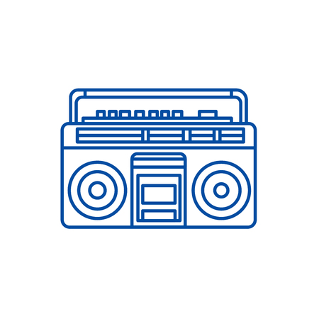 Audio cassete player line concept icon. Audio cassete player flat  vector website sign, outline symbol, illustration. Çizim