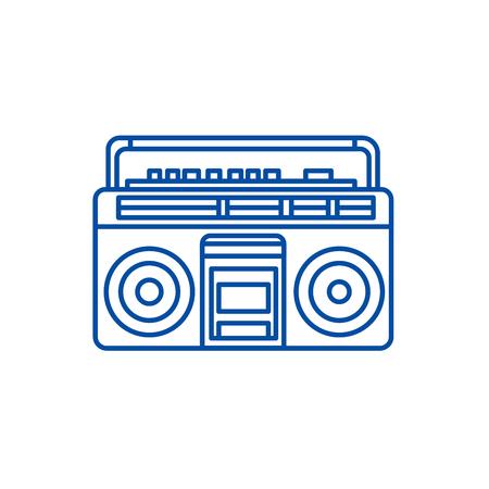 Symbol für das Konzept des Audiokassettenspielers. Audiokassettenspieler flaches Vektor-Website-Zeichen, Umrisssymbol, Illustration.