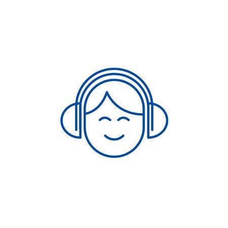 Audio listening,man with headphones line concept icon. Audio listening,man with headphones flat  vector website sign, outline symbol, illustration.