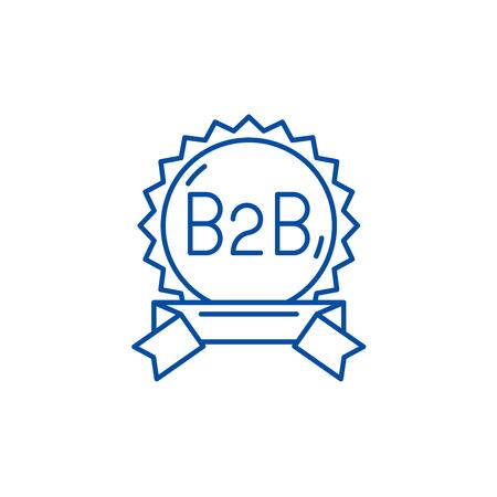 B2b line concept icon. B2b flat  vector website sign, outline symbol, illustration.