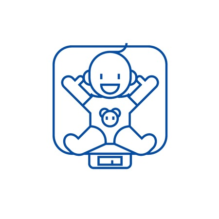Baby on scales line concept icon. Baby on scales flat  vector website sign, outline symbol, illustration.