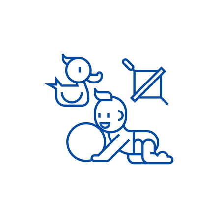 Baby playing,duck, baby, ball, whirligig line concept icon. Baby playing,duck, baby, ball, whirligig flat  vector website sign, outline symbol, illustration.