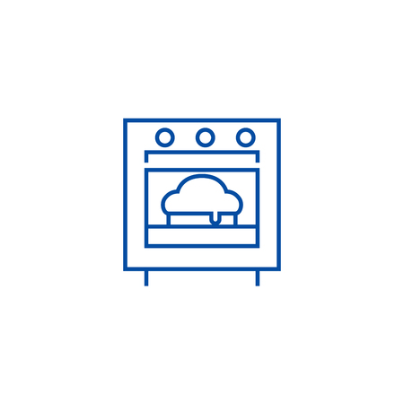 Baking pie line concept icon. Baking pie flat  vector website sign, outline symbol, illustration.