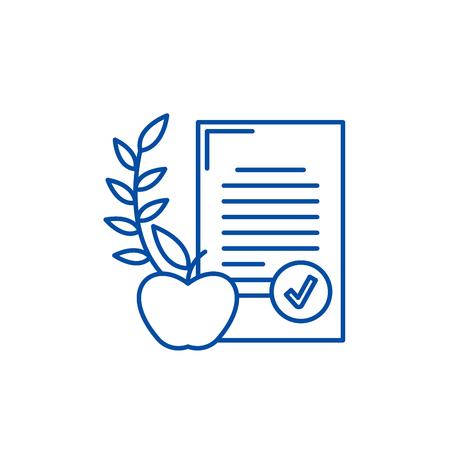 Balanced diet line concept icon. Balanced diet flat  vector website sign, outline symbol, illustration.  イラスト・ベクター素材