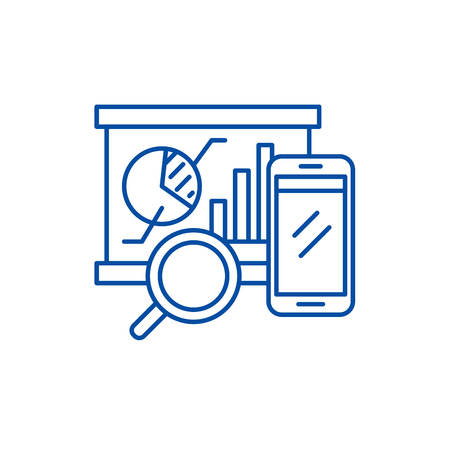 Balanced scorecard line concept icon. Balanced scorecard flat  vector website sign, outline symbol, illustration. 矢量图像