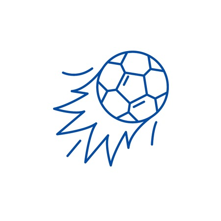 Ball goal line concept icon. Ball goal flat  vector website sign, outline symbol, illustration. Illustration