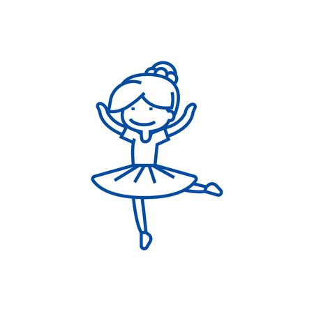 Ballerina girl,balet dancer line concept icon. Ballerina girl,balet dancer flat  vector website sign, outline symbol, illustration. Foto de archivo - 119710420